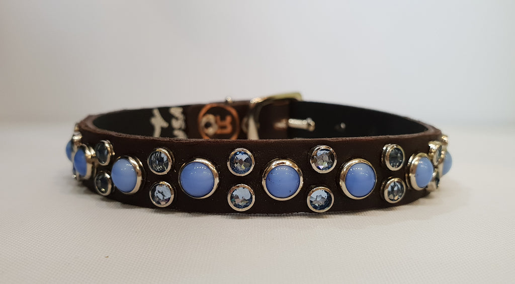 "HB 1/2"" Collar - Chocolate Leather / Blue Stones & Crystals"