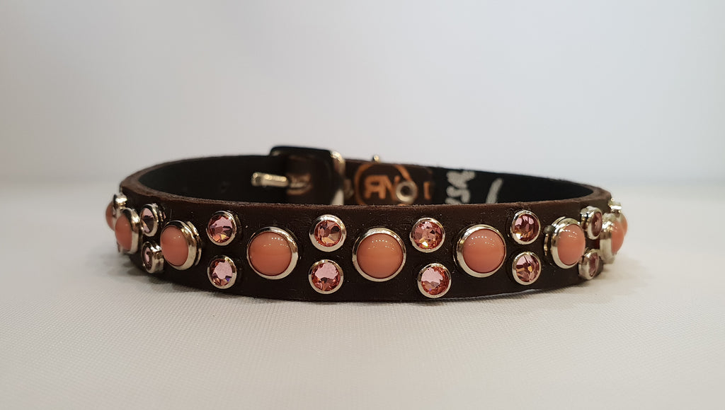 "HB 1/2"" Collar - Chocolate Leather / Pink Stones & Crystals"
