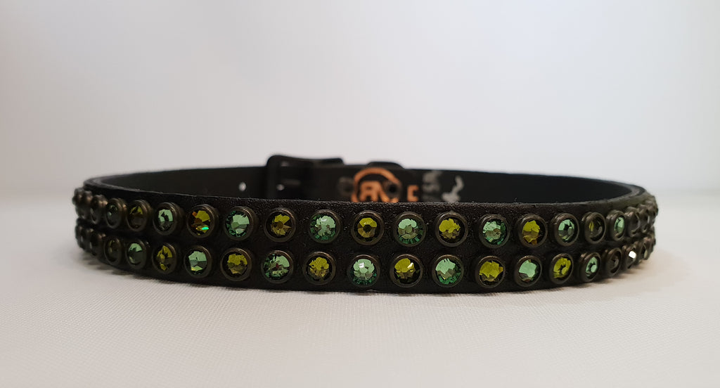 "Double Row 1/2"" Collar - Black Leather / Green Crystals"