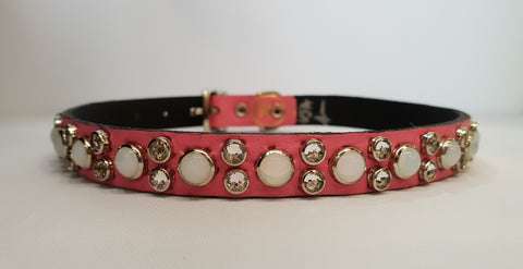 "HB 1/2"" Collar - Pink Leather / White  Stones & Clear Crystals"