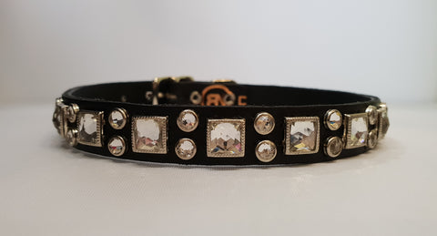 "Vic 1/2"" Collar - Black Leather / Clear Crystals"