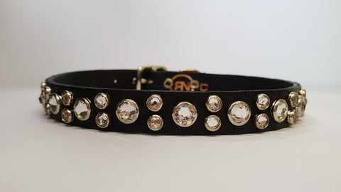 "HB 1/2"" Collar - Black Leather / Clear Crystals"