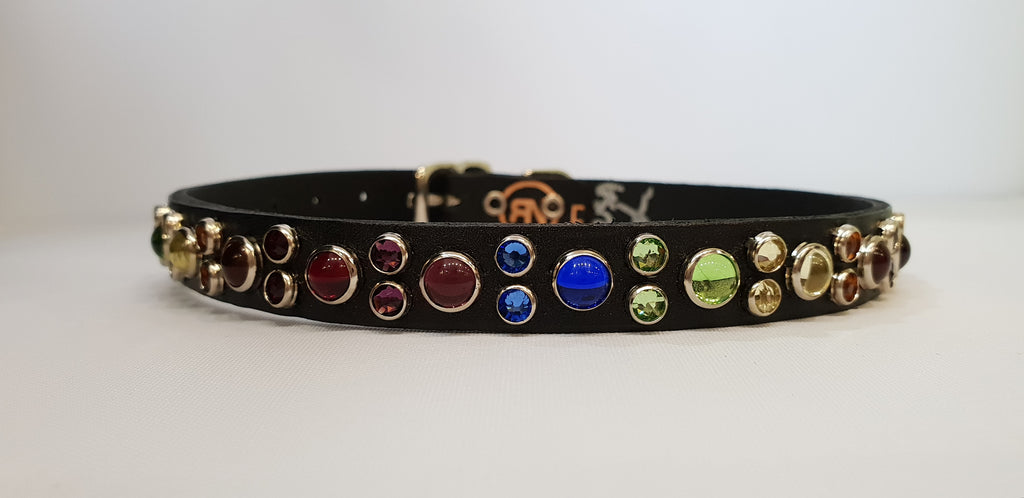 "HB 1/2"" Collar - Black Leather / Rainbow Stones & Crystals"