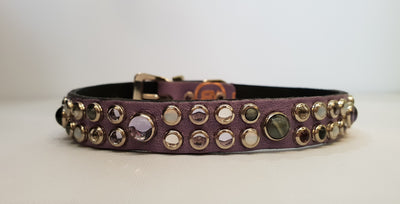 "HB 1/2"" Collar - Lilac Leather / Amethyst  Stones & Crystals"