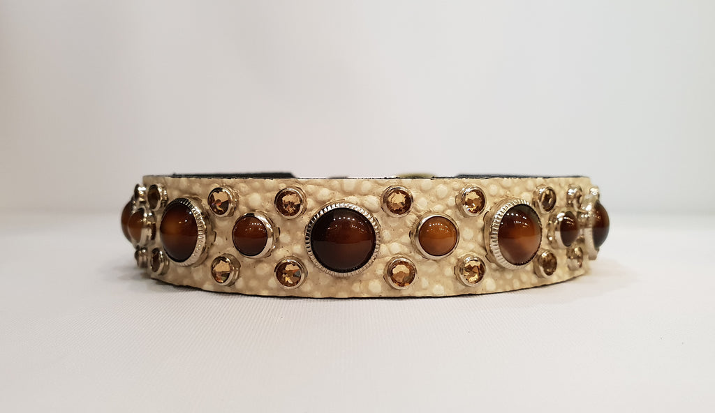 "HB 3/4"" Collar - Ivory Leather / Brown Stones & Crystals"