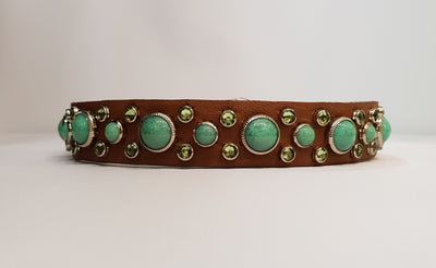 "HB 3/4"" Collar - Chestnut Leather / Green Turquoise Stones & Crystals"