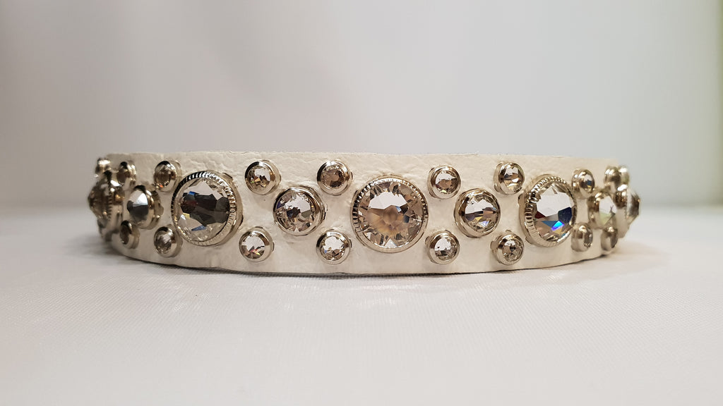 "HB 3/4"" Collar - White Leather / Clear Crystals"