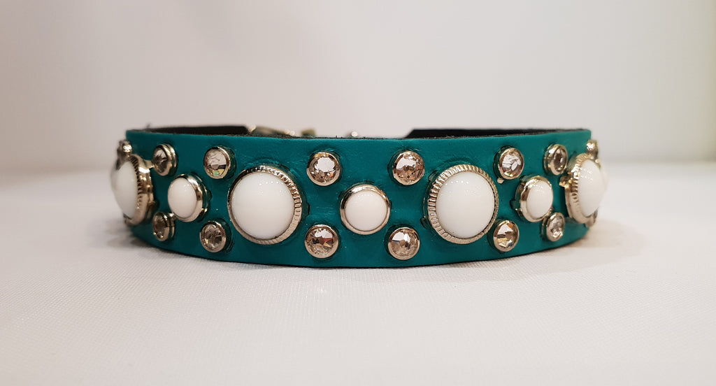 "HB 3/4"" Collar - Teal Leather / White Stones & Clear Crystals"