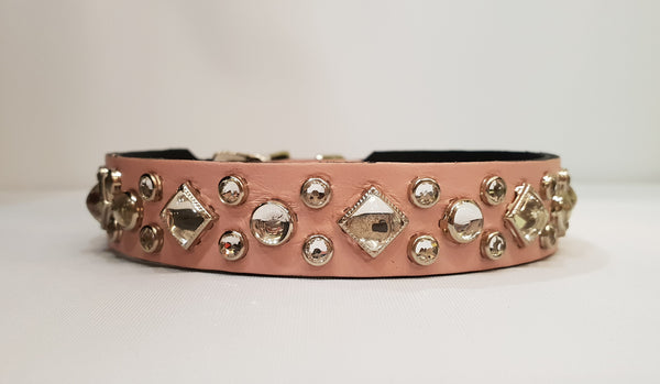 "Aud 3/4"" Collar - Pink Leather / Clear Crystals"