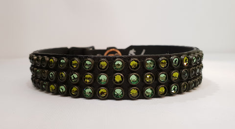 "Triple Row 3/4"" Collar - Black Leather / Green Crystals"