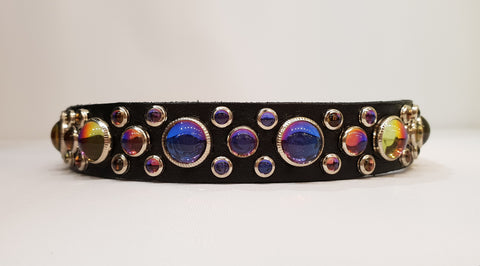 "HB 3/4"" Collar - Black Leather / Vitrail Stones & Crystals"