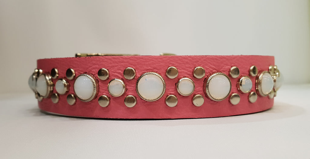 "Stud 1"" Collar - Pink Leather / White Stones"