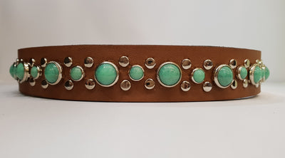 "Stud 1"" Collar - Chestnut Leather / Green Turquoise Stones"