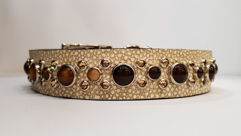 "HB 1"" Collar - Ivory Leather / Brown Stones & Crystals"