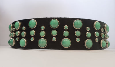 "Drops 1.5"" Collar Black Leather / Turquoise Stones"