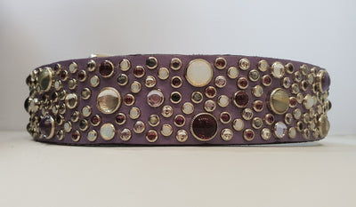 "Jean 1.5"" Collar Lavender Leather / Purple Stones & Mix Stones"