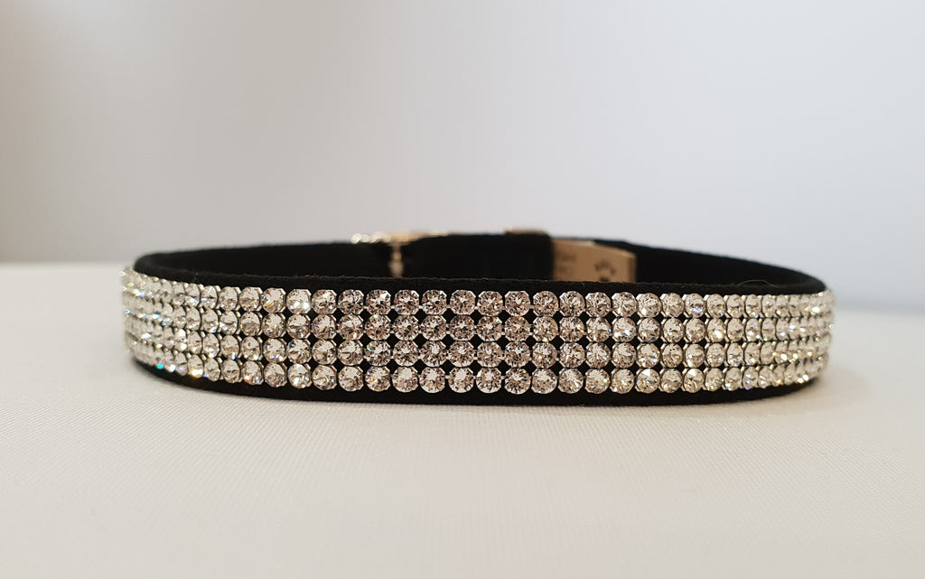 "4 Row Crystal Microsuede 1/2"" Collar"