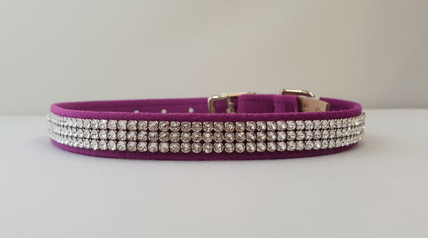 "3 Row Crystal Microsuede 1/2"" Collar"