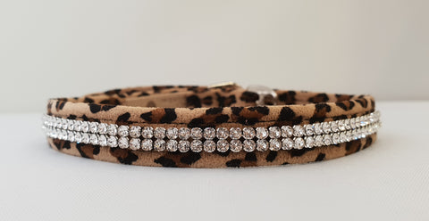 "2 Row Crystal Microsuede 1/2"" Collar"