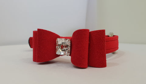 "Big Bow Red Microsuede 5/8"" Collar Single Crystal"