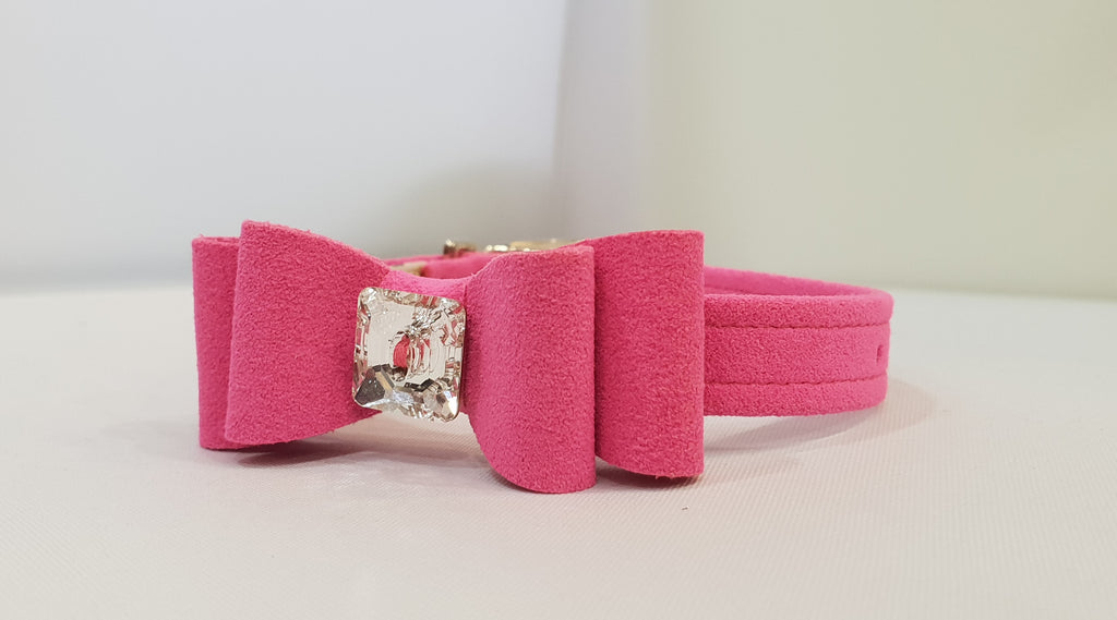 "Big Bow Pink Microsuede 1/2"" Collar Single Crystal"