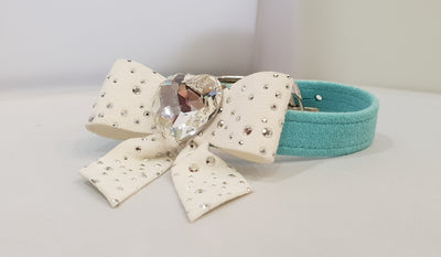 "Tiffany White Bow Microsuede 1/2"" Collar"