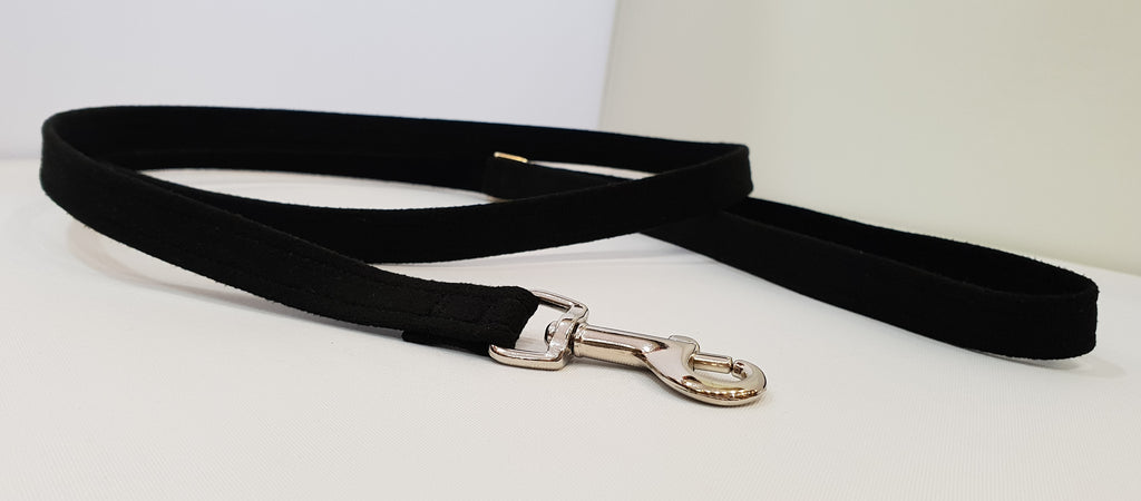 "Black Microsuede 1/2"" x 4' Leash - Plain"