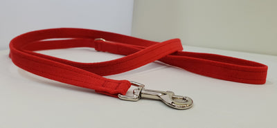 "Red Microsuede 1/2"" x 4' Leash - Plain"