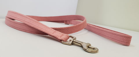 "Pink PRF Microsuede 1/2"" x 4' Leash - Plain"