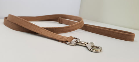 "Fawn Microsuede 1/2"" x 4' Leash - Plain"