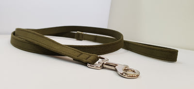 "Olive Microsuede 1/2"" x 4' Leash - Plain"