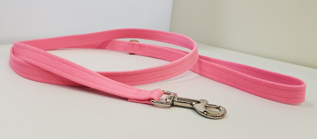 "Pink C Microsuede 1/2"" x 4' Leash - Plain"