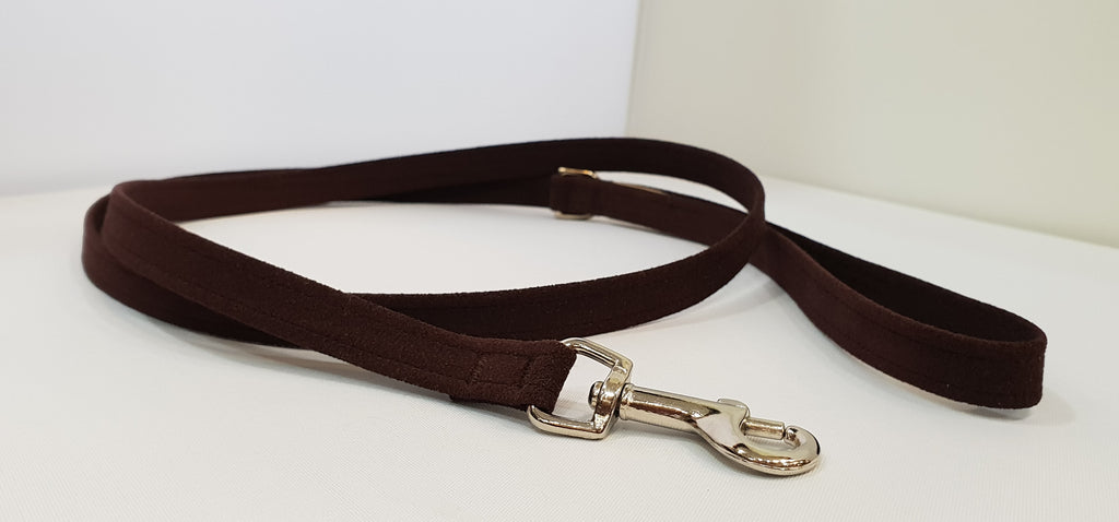 "Chocolate Microsuede 1/2"" x 4' Leash - Plain"
