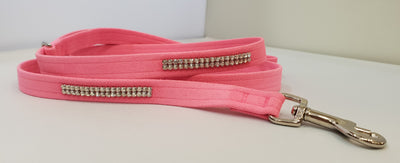 "Pink Microsuede 1/2"" x 4' Leash - 2 Row"