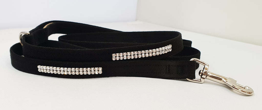 "Black Microsuede 1/2"" x 4' Leash - 2 Row"