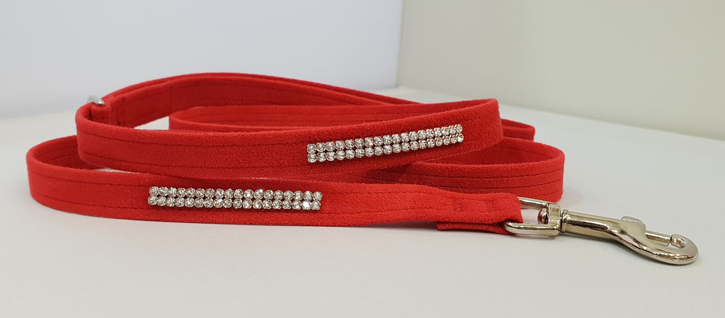 "Red Microsuede 1/2"" x 4' Leash - 2 Row"