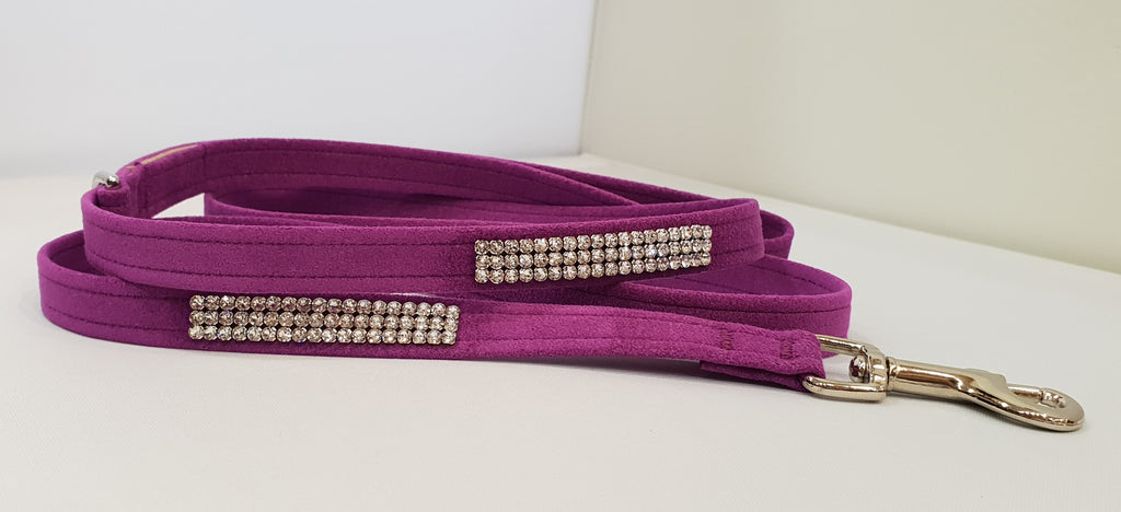 "Plum Microsuede 1/2"" x 4' Leash - 3 Row"