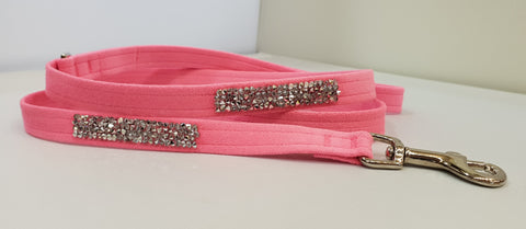 "Pink Microsuede 1/2"" x 4' Leash - Crystal Rock"