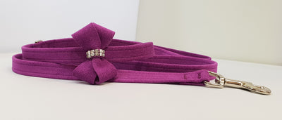 "Plum Microsuede 1/2"" x 4' Leash - N Bow"