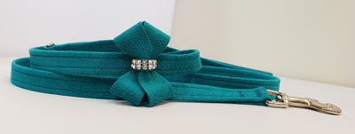 "Blue Microsuede 1/2"" x 4' Leash - N Bow"