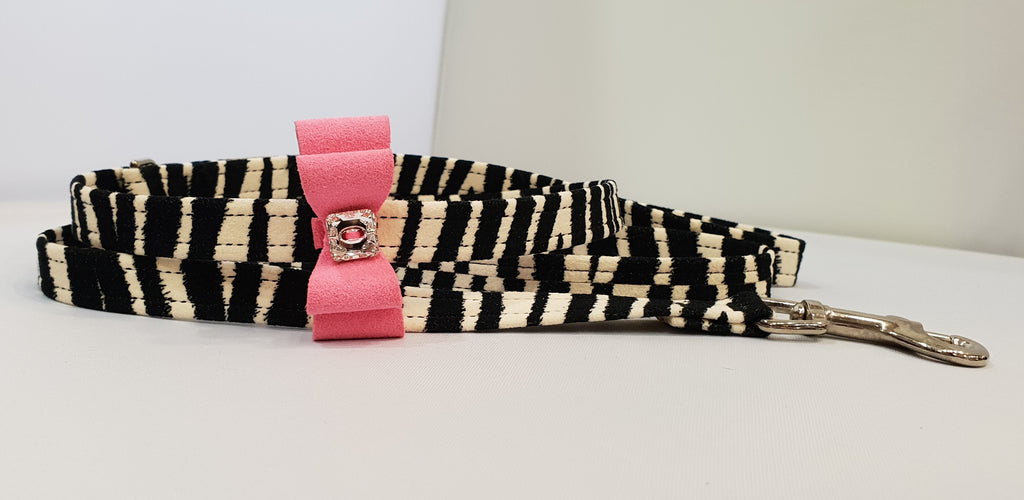 "Zebra Microsuede 1/2"" x 4' Leash - Pink Bow"