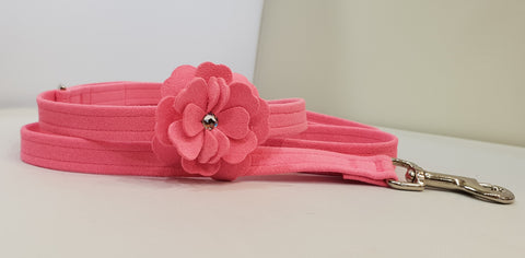 "Flower Microsuede 1/2"" x 4' Leash - Pink"