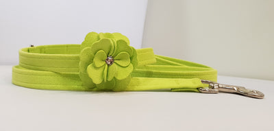 "Kiwi Microsuede 1/2"" x 4' Leash - Flower"