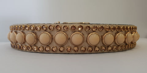 "Joan 1"" Collar - Ivory Leather - Ivory/Gold Stones"
