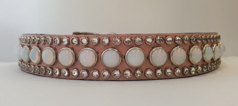 "Joan 1"" Collar - Pink Leather - White/Clear Stones"