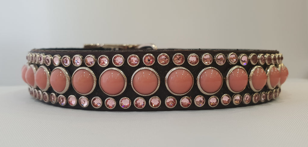 "Joan 1"" Collar - Chocolate Leather - Pink Stones"