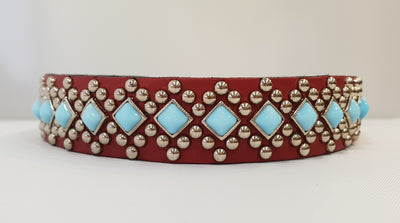 "Diamond S 1""  Collar - Red Leather / Turquoise Stones"