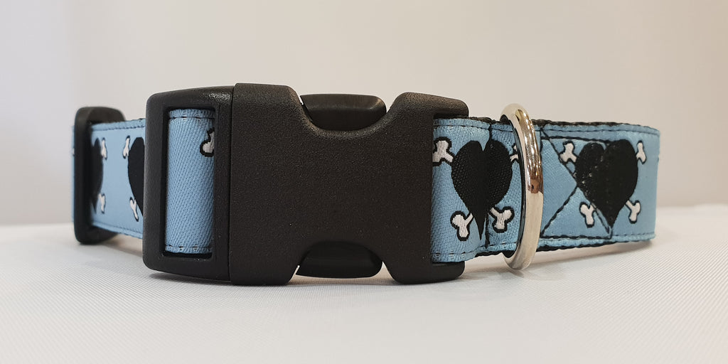 Dog Patch Blue Fabric Collar