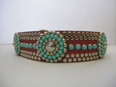 "Santa Fe 1.5"" Collar Red Leather / Turquoise Stones"