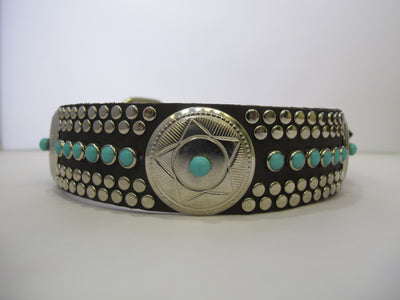 "Santa Fe N 1.5"" Collar Chocolate Leather / Turquoise Stones"